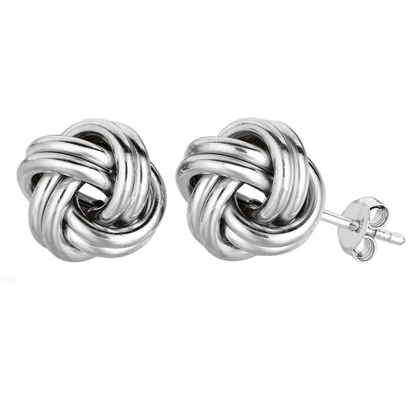 Sterling Silver Rhodium Finish 13mm Shiny Love Knot Stud Earrings - JewelryAffairs  - 1