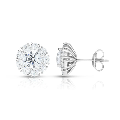 Sterling Silver Sunflower Cubic Zirconia Stud Earrings