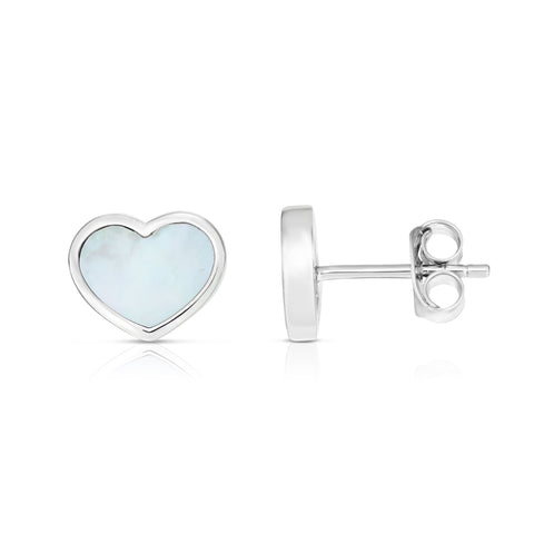 Sterling Silver Heart Mother Of Pearl Stud Earrings