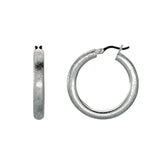 Sterling Silver Rhodium Plated With Brushed Diamond Dust Finish Round Tube Round Hoop Earrings - JewelryAffairs  - 1