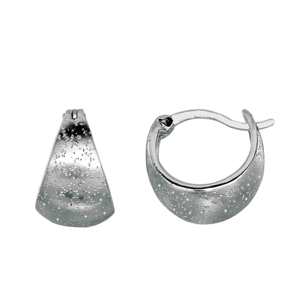 Sterling Silver Rhodium Plated With Brushed Diamond Dust Finish Graduated Snuggable Earrings - JewelryAffairs  - 1