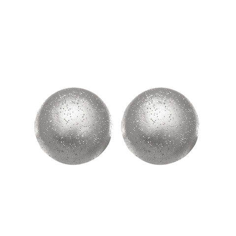 Sterling Silver Rhodium Plated With Brushed Diamond Dust Finish 10Mm Half Ball Button Stud Earrings - JewelryAffairs  - 1