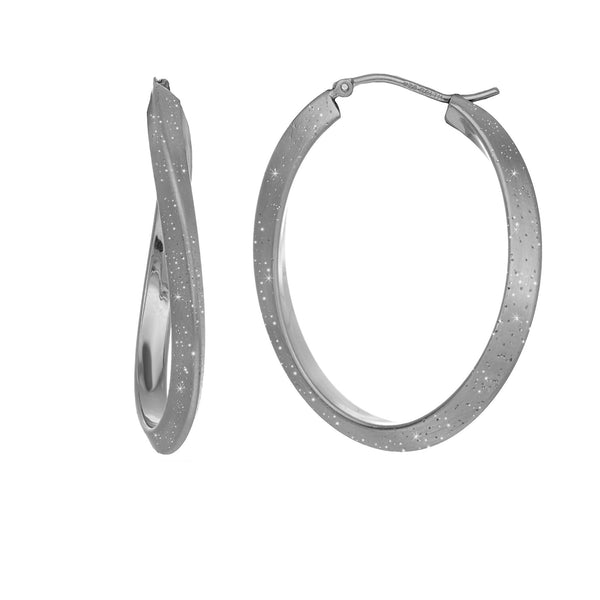 Sterling Silver Rhodium Plated With Brushed Diamond Dust Finish Wavy Oval Hoop Earrings - JewelryAffairs  - 1