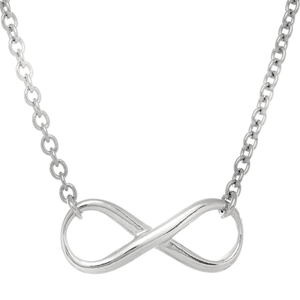Infinity Sign Link Necklace In Rhodium Plated Sterling Silver - 18 Inches - JewelryAffairs  - 1