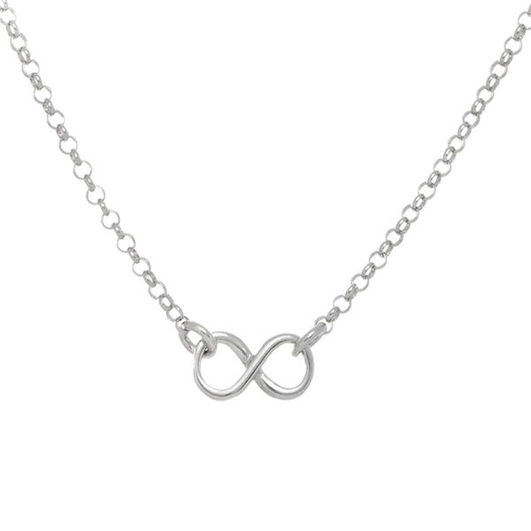 Multi Infinity Link Necklace In Rhodium Plated Sterling Silver - 18 Inches - JewelryAffairs  - 1