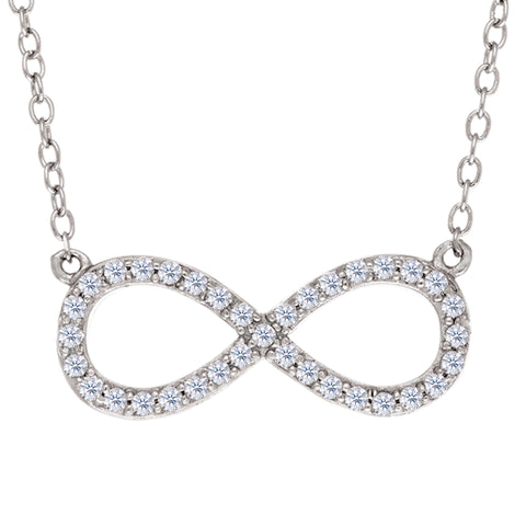 Infinity Sign Link And CZ Necklace In Sterling Silver, 18""