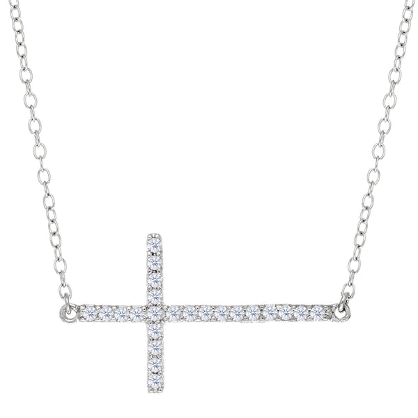 Sideways Cross With Cz Necklace In Rhodium Plated Sterling Silver - 18 Inches - JewelryAffairs  - 1