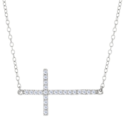 Sideways Cross And CZ Necklace In Sterling Silver, 18""