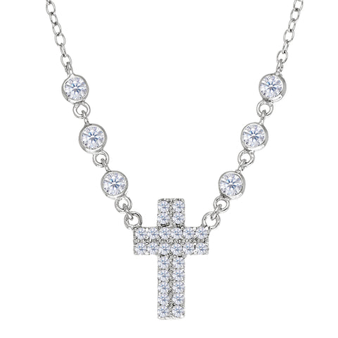 Cross With Cz Necklace In Rhodium Plated Sterling Silver - 18 Inches - JewelryAffairs  - 1