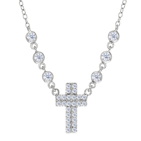Cross And CZ Necklace In Sterling Silver, 18""