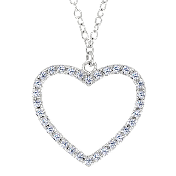 Heart With Cz Necklace In Rhodium Plated Sterling Silver - 18 Inches - JewelryAffairs  - 1