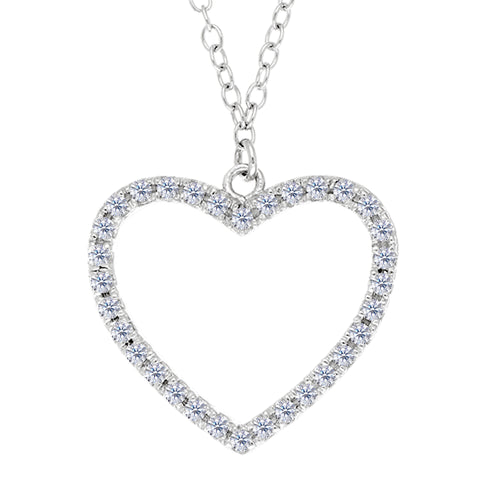 Heart And CZ Necklace In Sterling Silver, 18""
