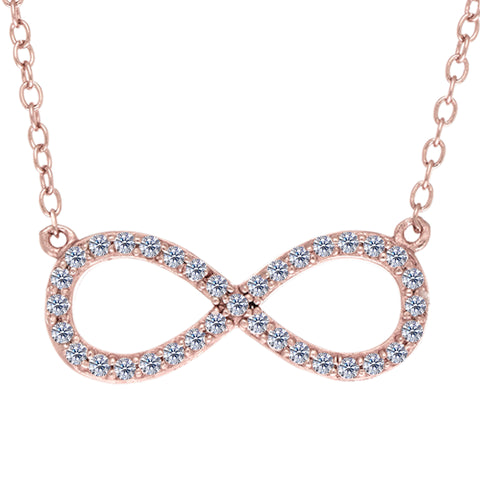 Infinity Sign Link And CZ Necklace In Rose Color Finish Sterling Silver, 18""