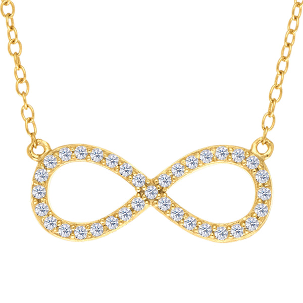 Infinity Sign Link And CZ Necklace In Yellow Color Finish Sterling Silver, 18""