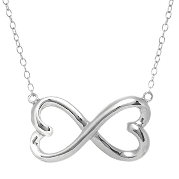 Double Heart Infinity Sign Necklace In Rhodium Plated Sterling Silver - 18 Inches - JewelryAffairs  - 1