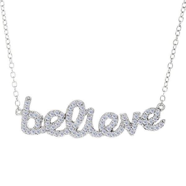 Believe Logo With Cz Necklace In Rhodium Plated Sterling Silver - 18 Inches - JewelryAffairs  - 1