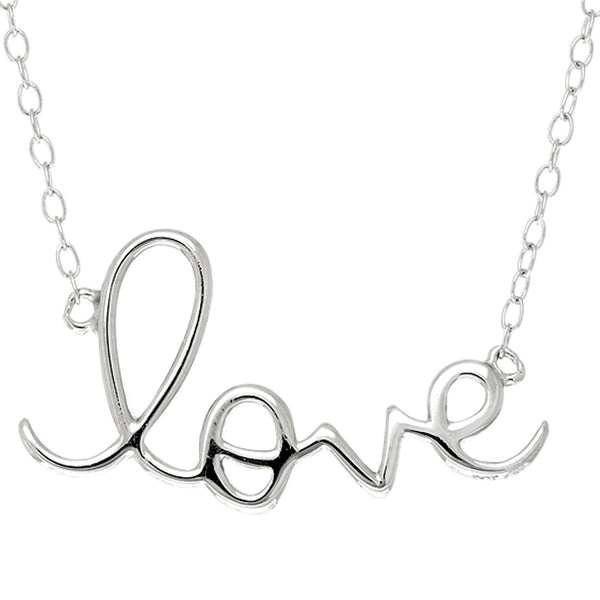 Script  Love Logo Necklace In Rhodium Plated Sterling Silver - 18 Inches - JewelryAffairs  - 1