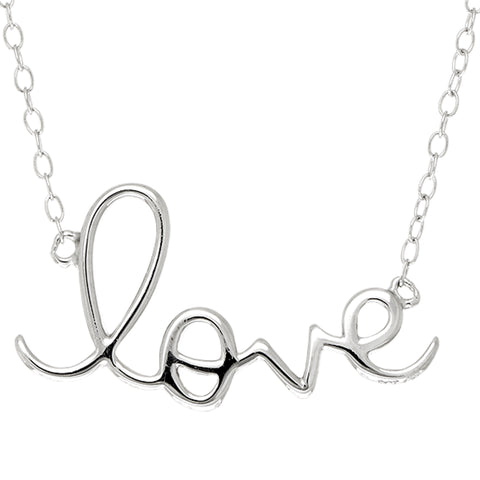 "Script  Love Logo Necklace In Sterling Silver, 18"" - JewelryAffairs  - 1"