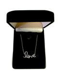 "Script  Love Logo Necklace In Sterling Silver, 18"" - JewelryAffairs  - 4"
