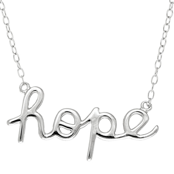 Script  Hope Logo Necklace In Sterling Silver, 18""