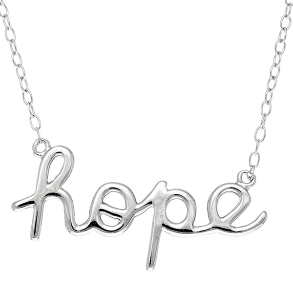 Script  Hope Logo Necklace In Rhodium Plated Sterling Silver - 18 Inches - JewelryAffairs  - 1