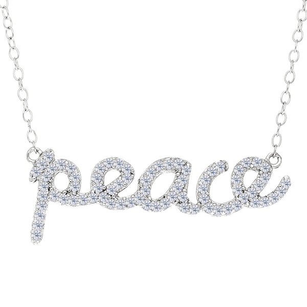 Peace Logo With Cz Necklace In Rhodium Plated Sterling Silver - 18 Inches - JewelryAffairs  - 1