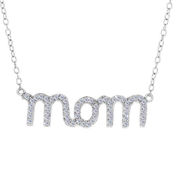 Mom Logo And CZ Necklace In Sterling Silver, 18""