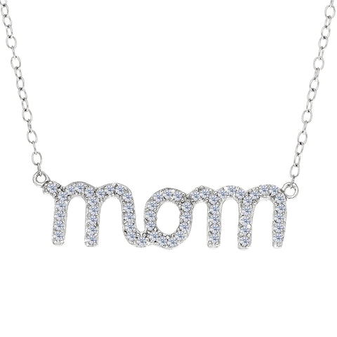 Mom Logo With Cz Necklace In Rhodium Plated Sterling Silver - 18 Inches - JewelryAffairs  - 1