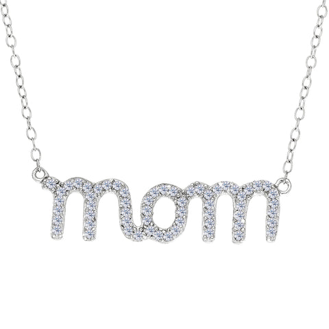 "Mom Logo And CZ Necklace In Sterling Silver, 18"" - JewelryAffairs  - 1"