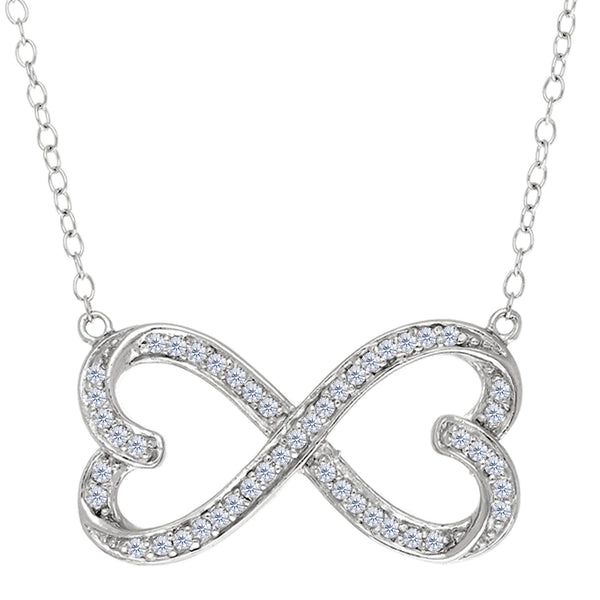 Double Heart Infinity Sign With Cz Necklace In Rhodium Plated Sterling Silver - 18 Inches - JewelryAffairs  - 1