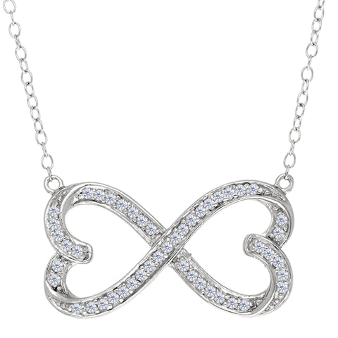 "Double Heart Infinity Sign And CZ Necklace In Sterling Silver, 18"" - JewelryAffairs  - 1"