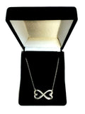 Double Heart Infinity Sign And CZ Necklace In Sterling Silver, 18""