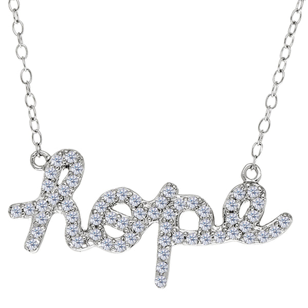Hope Logo With Cz Necklace In Rhodium Plated Sterling Silver - 18 Inches - JewelryAffairs  - 1
