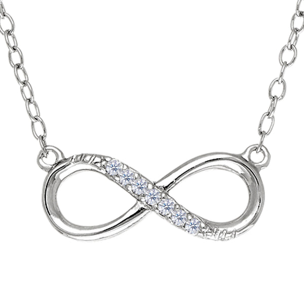 Infinity Sign Link With Cz Necklace In Rhodium Plated Sterling Silver - 18 Inches - JewelryAffairs  - 1