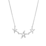 Sterling Silver Star Fish Pendant Womens Necklace, 18""