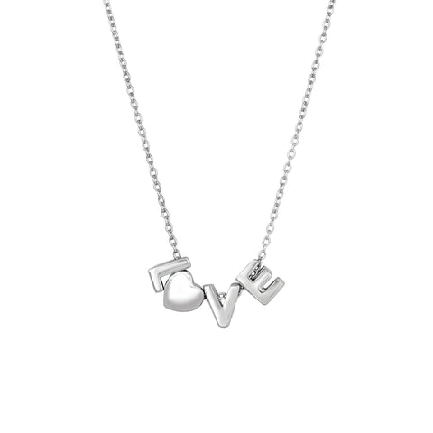 Sterling Silver Love Pendant Womens Necklace, 18""