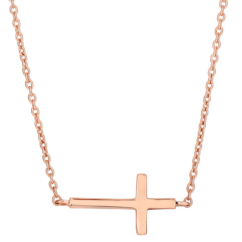 Sterling Silver Rose Finish Side Ways Cross Fashion Necklace, 18""