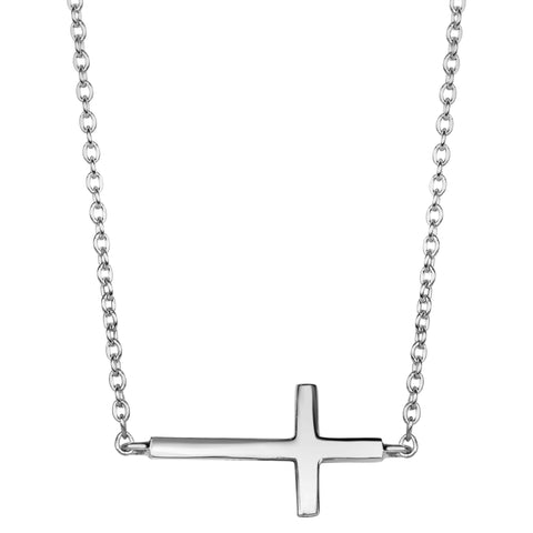 Sterling Silver Side Ways Cross Fashion Necklace, 18""