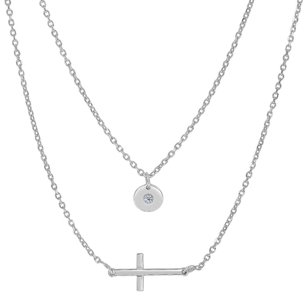 Sterling Silver Sideways Cross And CZ Charm Fashion Necklace, 18""