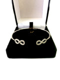 Sterling Silver Double CZ Infinity Ends Bracelet Cuff