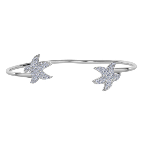 Sterling Silver Double CZ Starfish Ends Bracelet Cuff