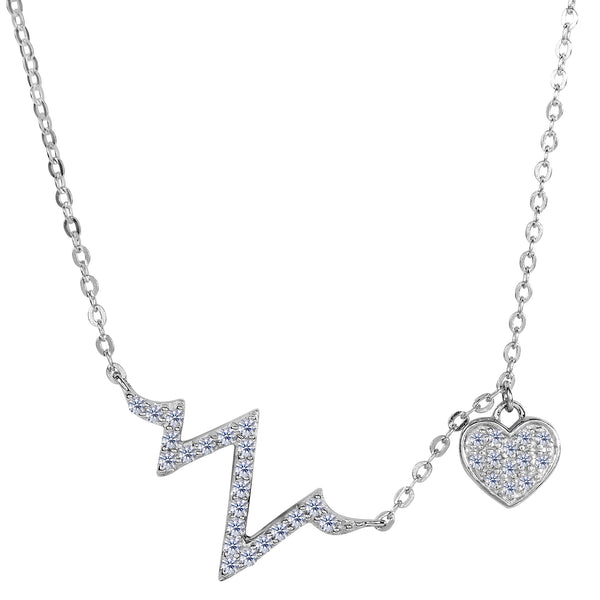 Sterling Silver Heart Beat CZ Charms Necklace, 18""