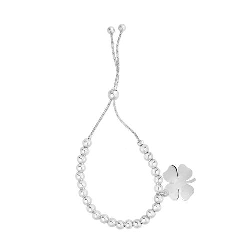 Sterling Silver Beads And 4 Leaf Clover Dangle Charm Adjustable Bolo Friendship Bracelet , 9.25""