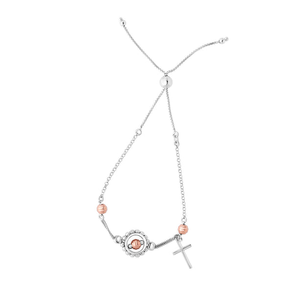 Sterling Silver Rose Color Beads With Cross Charm Adjustable Bolo Friendship Bracelet , 9.25""
