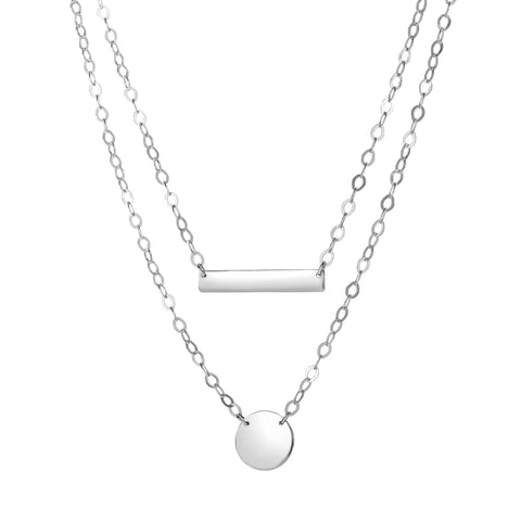 Sterling Silver Bar And Disc Pendant Necklace, 18""