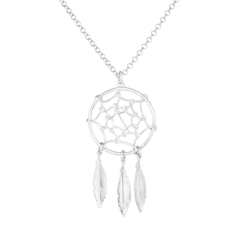 Sterling Silver Dream Catcher Charm Necklace, 17""
