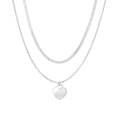 Sterling Silver Heart Pendant Choker Necklace, 16""
