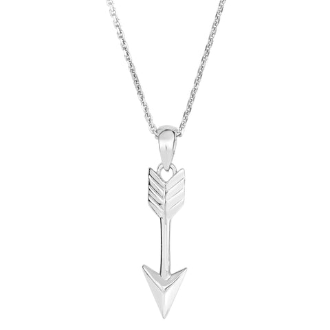 Sterling Silver Drop Arrow Sliding Pendant Necklace, 18""