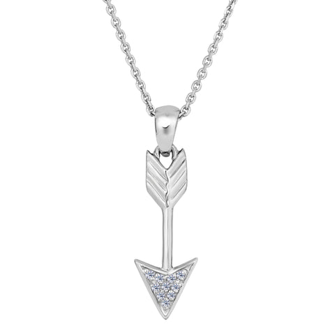 Sterling Silver Drop Arrow With CZ Sliding Pendant Necklace, 18""