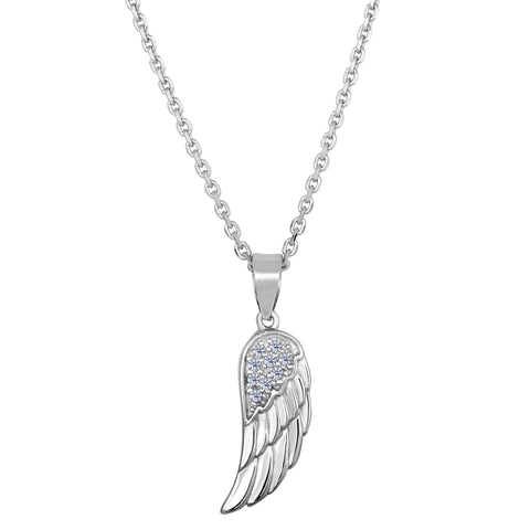 Sterling Silver Angel Wing Pendant CZ Fashion Necklace, 18""